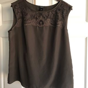 Ann Taylor Brown Lace Detailed Camisole